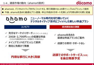 通信市場の動向(ahamoの提供)
